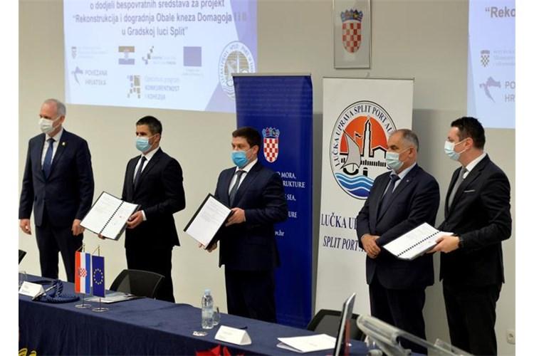 Ministar Oleg Butković potpisao ugovor o dodjeli bespovratnih sredstava za projekt rekonstrukcije Obale kneza Domagoja u Gradskoj luci Split